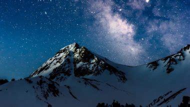 mountains night starry sky wallpaper