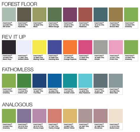 pantone color palette pantone color palettes 2017 forest floor rev it up fathomless analogous color palettes