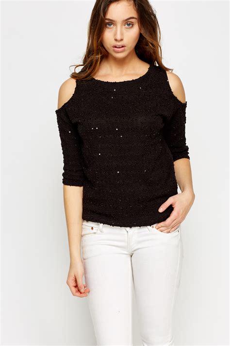Top Knit 26 sequin cold shoulder knit top black just 163 5