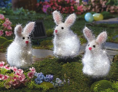 Bunny Garden Decor Solar Power Easter Bunny Garden Lawn Yard Stakes Home Accent Decor New