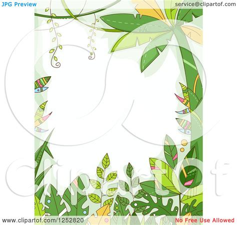 clipart of a jungle border of forest plants royalty free