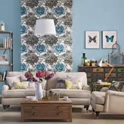 Living Room Flower Wallpaper Wallpaper Accent Wall How To Do It Right Interior