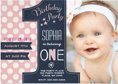 1st birthday greeting card template 30 birthday invitations free psd vector eps ai