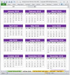 Calendar 2018 Excel Yearly 2018 Calendar Year In Excel Spreadsheet Printable