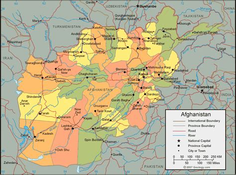 political map of afghanistan afghanistan map and satellite image