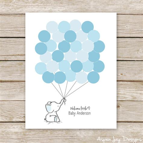 printable baby shower guest book template blue elephant balloon signature guest book printable for baby