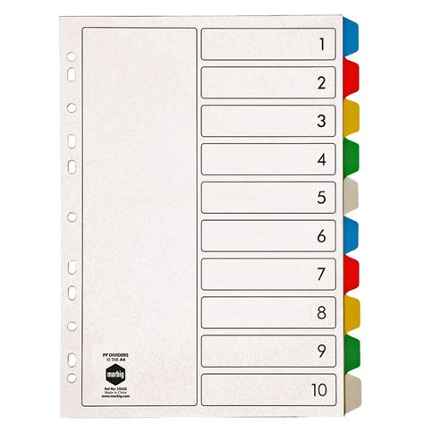 Pen Paper Inter X Folder Index Divider 10 Tabs A4 marbig a4 pp 10 tab colour dividers auslim stationery