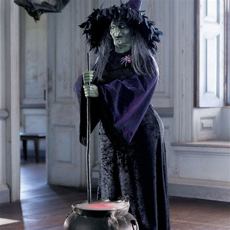 Size Decorations by Lifesize Animated Witch W Bubbling Cauldron