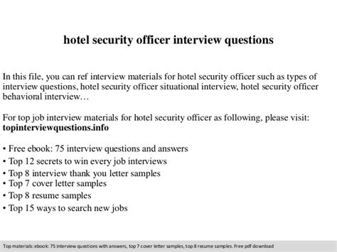 hotel security officer questions