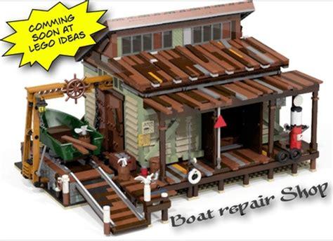 lego boat repair shop anleitung lego ideas old fishing store lego moc pinterest