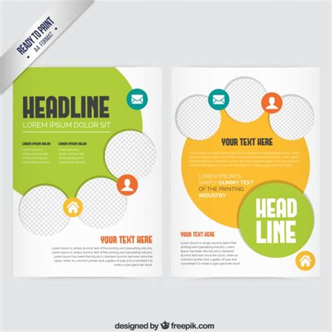 brochure with yellow and green elements vector free download
