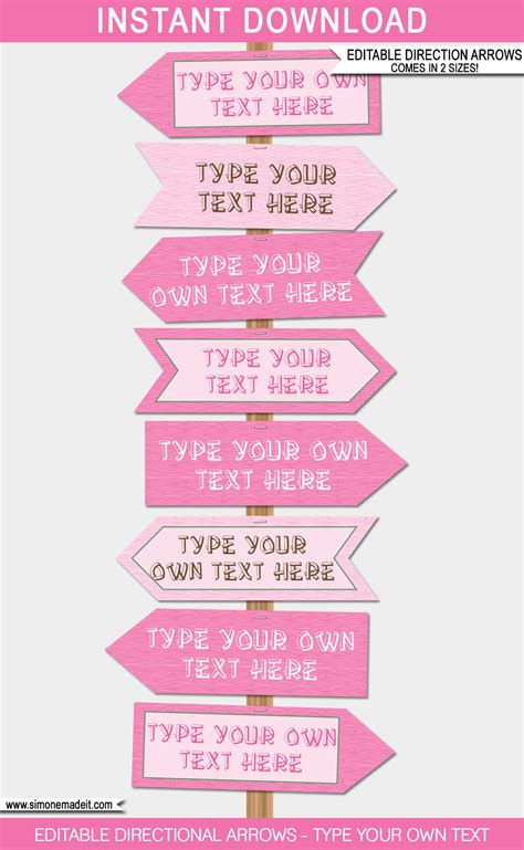 Pink Girl Cing Party Directional Signs Direction Arrows Direction Signs Template