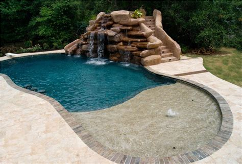 waterfalls for pools inground inground pool waterfall kits backyard design ideas