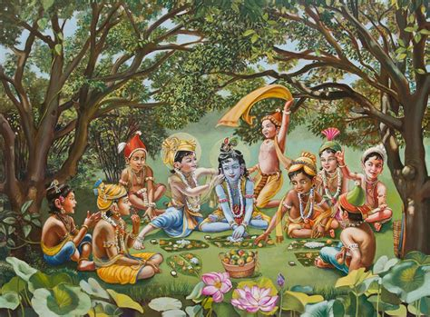 biography of indian classical artist krishna eats lunch with his friends oil painting figures