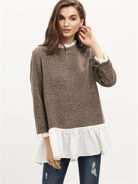 Sweater White Colour brown white sleeve color block sweater shein sheinside