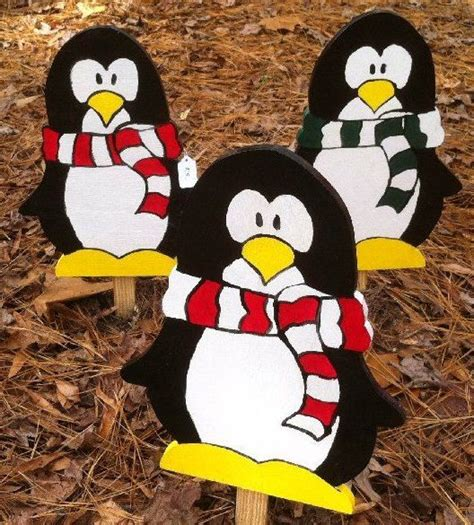 patterns wooden christmas lawn decorations penguins with scarf and hat wooden christmas yard