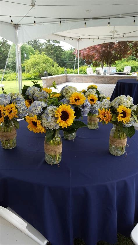 Sunflower and hydrangea in Mason jars   125th   Pinterest