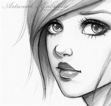 pretty girl face drawing sketch of a quizzical girl a realistic cartoon drawing