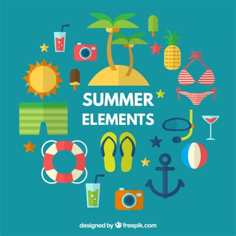 Design Summer Year Definition | collection of summer accessories and elements in flat