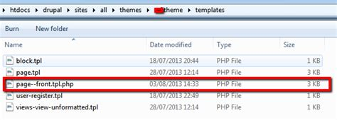 drupal theme tao 7 page front tpl php not working tao theme drupal