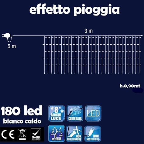 tenda luminosa led tenda luminosa natalizia 180 led luce bianco caldo 3 metri