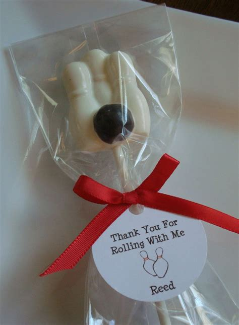 diy bowling favors chocolate bowling pins and bowling lollipop with