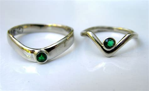 Handmade White Gold Rings - crafted his hers emerald anniversary rings handmade
