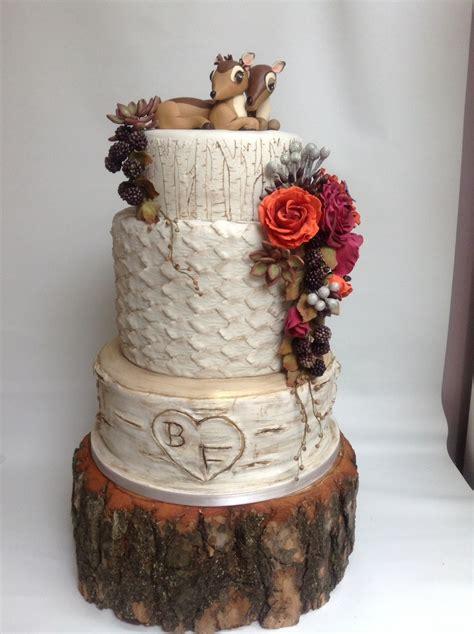 Stump Decorations Autumn Woodland Birch Tree Wedding Cake Deer Bambi Cake