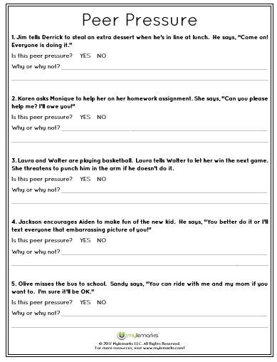 Peer Pressure Worksheets by Peer Pressure Worksheets The Large And Most