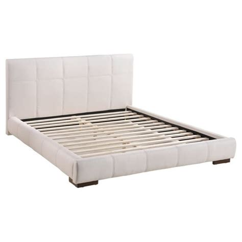 White Leather Platform Bed Zuo Amelie Faux Leather Upholstered King Platform Bed In White 800211