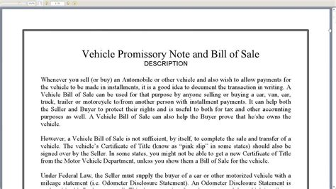 vehicle promissory note and bill of sale youtube