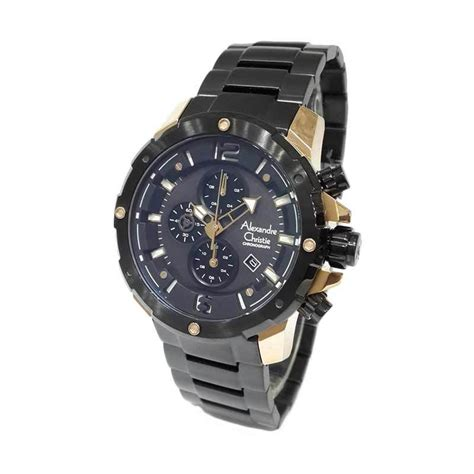 Alexandre Christie Pria Ac 8519 Md Rosegold Black Original jam tangan analog alexandre christie jualan jam tangan