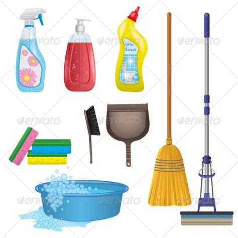 cleaning emoji graphicriver cleaning icons set 8437890