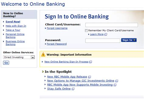 royal bank of canada login canada banking