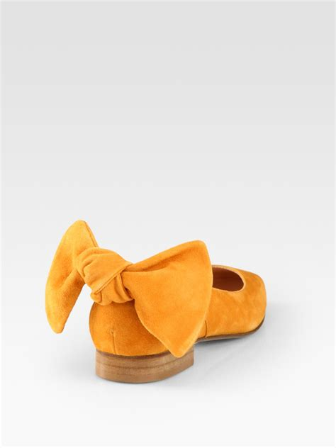 Etro Yellow Bow Flats by Carven Suede Bow Ballet Flats In Yellow Lyst