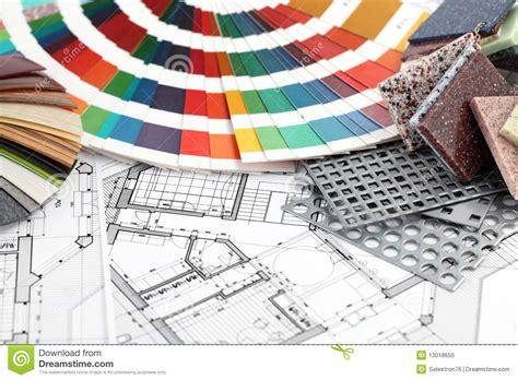 Interior Design Materials by Furnishing Materials Interior Plan Stock Photo Image