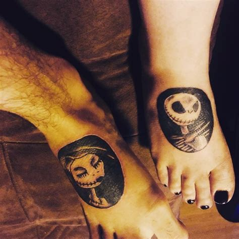 couple foot tattoos black ink nightmare before monsters