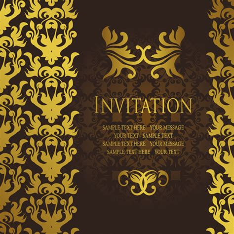 gold luxury invitation card template vector over