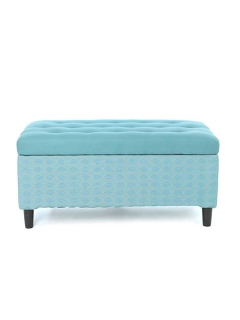 home style 37 quot aqua tufted storage bench my style
