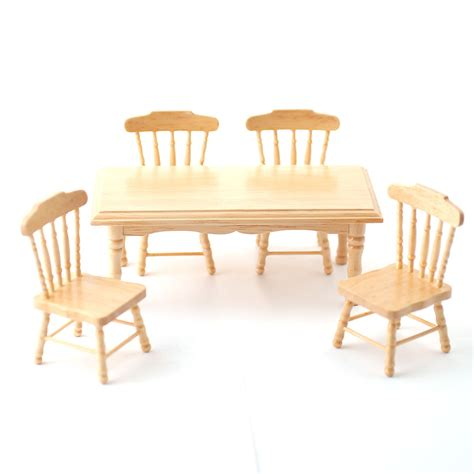 Kitchen Table With 4 Chairs And Bench Df131p 1 12 Scale Pine Kitchen Table And 4 Chairs Minimum World