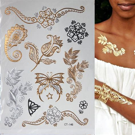 henna metallic temporary tattoo flash metallic waterproof temporary gold silver