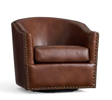 leather swivel armchair harlow leather swivel armchair pottery barn