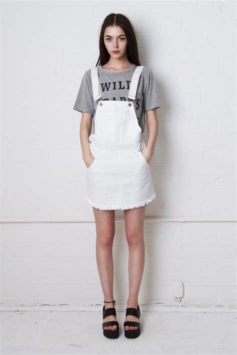 liquor n leawood white denim dungaree skirt