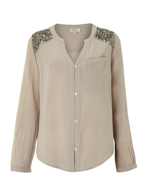 Linea Tunik Grey linea weekend sequin shoulder detail blouse in gray lyst