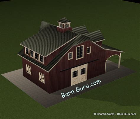 One Bedroom Living Quarters Barn Plans 2 Stall Barn With Living Quarters
