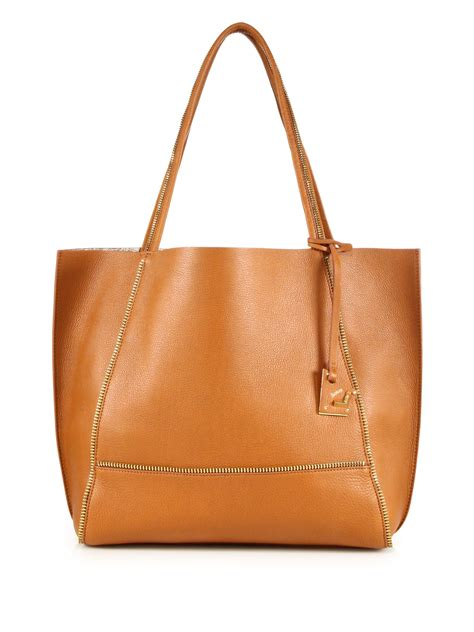 Botkier Pocket Bag by Lyst Botkier Soho Zipper Trimmed Leather Tote In Brown