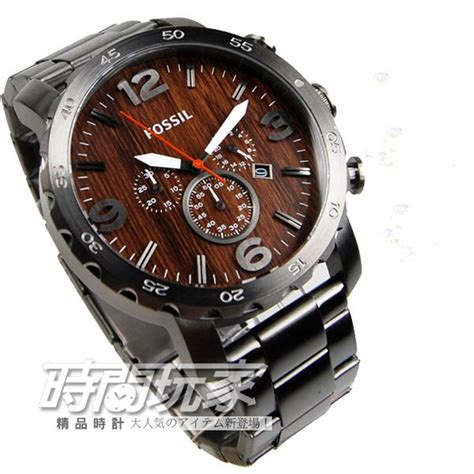 Jam Tangan Fossil Jr1355 Nate Chronograph Black Grey Brown promo jam tangan fossil jr1355 original