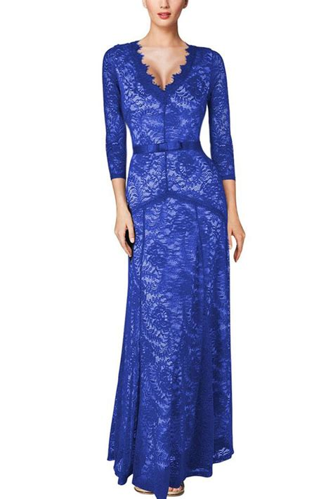 Viny 20684 Blue Style Quater Cardigan us 13 69 plunging neck three quarter sleeve blue lace dress dropshipping