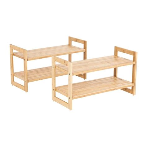 stackable 2 tier bamboo shoe rack 2 pack tbf
