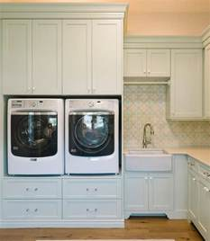 Laundry Room Furniture by Built In Washer And Dryer Pedestal Platform Cottage